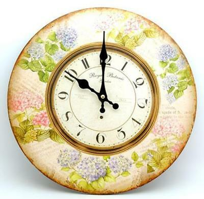 French Country Chic Retro Inspired Wall Clocks 34CM HYDRANGEAS FLORAL New Time