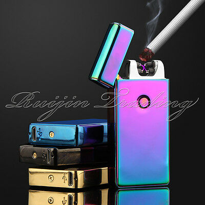 Electric Plasma Double Arc Lighter Windproof Flameless USB Rechargeable