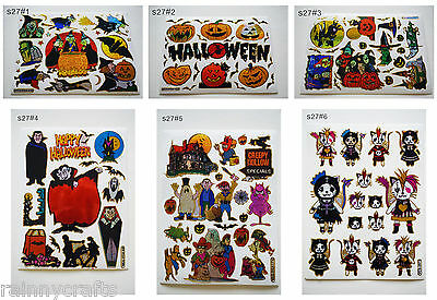 S27 Glitter halloween witch vampire dracula pumpkin cat ghost sticker seal