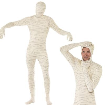 Mens Mummy Skinsuit Costume - Adult Second Skin Halloween Fancy Dress Outfit