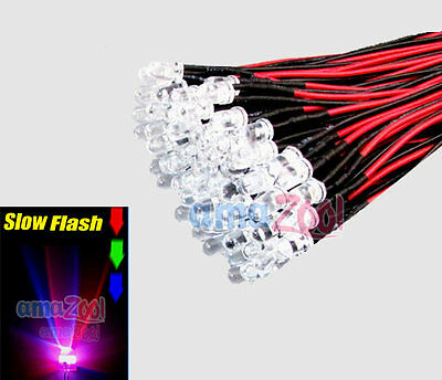 20pcs 5mm RGB Rainbow Pre Wired Led slow flash Light 12V 20cm Red/Green/Blue
