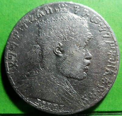 Coins: World Ethiopia Birr Menelik Ii Km# 5 Silver Crown Size Coin 1895-1897 Rare Low Price