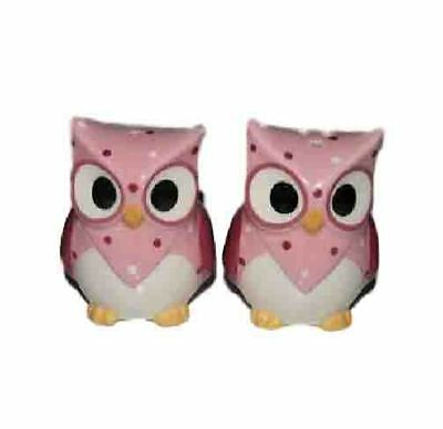 Collectable Novelty Kitchen Salt and Pepper Set PINK OWLS Collectable FREEPOS...