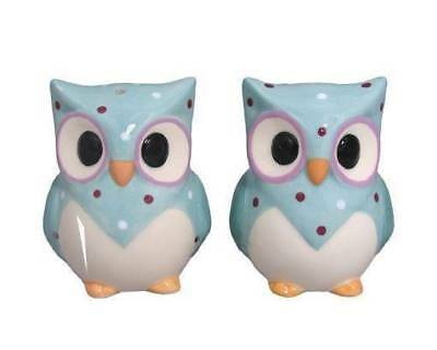 Collectable Novelty Salt and Pepper Set BLUE OWLS Kitchen Collectable FREEPOS...