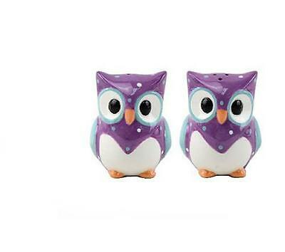 Collectable Novelty Salt & Pepper Set PURPLE OWLS Kitchen Collectable FREEPOST