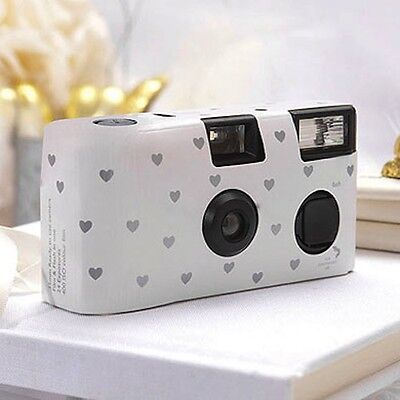 12 x Disposable Wedding Camera with Flash-White And Silver Hearts Design