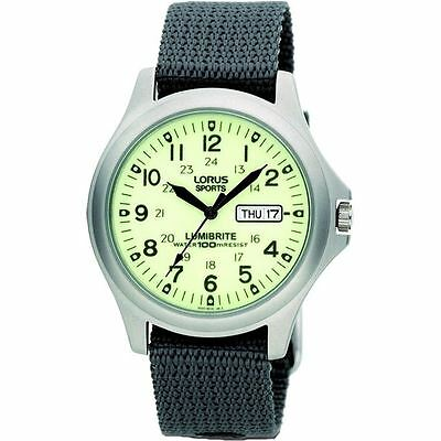 Lorus Gents Military Style Canvas Strap Lumibrite Analogue Watch With Day & Date