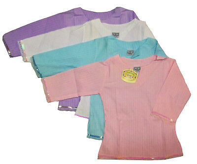 Girls Summer Casual Long Sleeved T-Shirt White Pink Lilac Top Age 3-12 New
