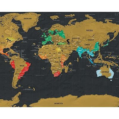 Luckies Scratch Off Deluxe Travel Edition Mini World Map Route Tracker