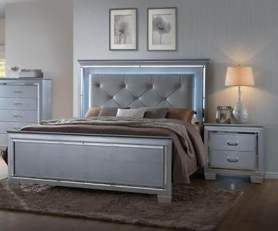 Crown Mark RB7100 Lillian king Size Bedroom Set Glam Chic 2 Night Stands