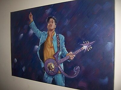 Prince 28x16 oil painting.Framing Avail Purple Rain New Power Generation Paisley
