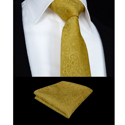 Mens Gold Tie & Handkerchief Hanky - Custom Gold Paisley Woven - Wedding Gift
