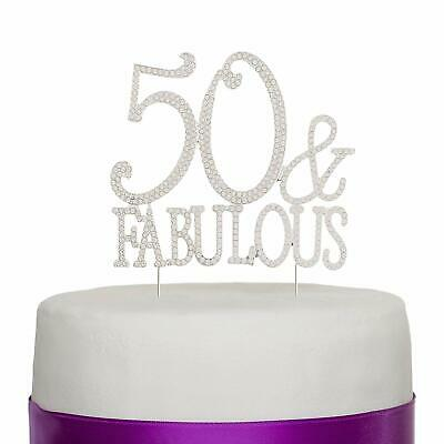 50 & Fabulous Silver Rhinestone Cake Topper Birthday Party Decoration