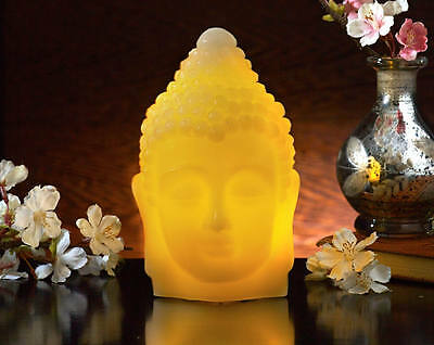 LED Light Up Wax Buddha Head Ornament Table Feature Decoration Flickering Effect