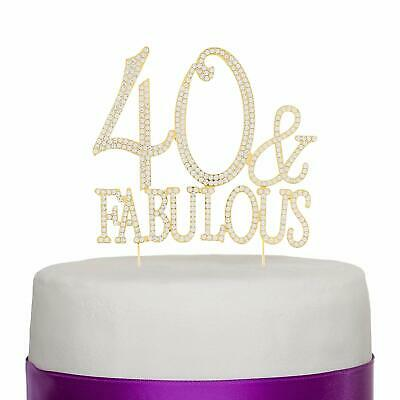 40 & Fabulous Gold Rhinestone Cake Topper Forty 40th Birthday Decoration