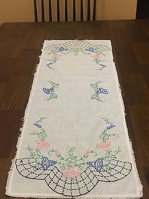 Vintage Handmade Table Runner With Embroidered Purple Pink Flowers Crochet