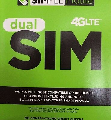 SIMPLE MOBILE DUAL SIM CARD FIRST MONTH Free $40 4G LTE
