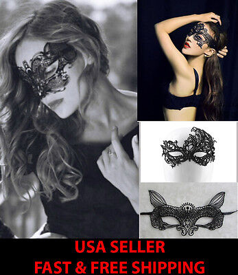 Masquerade Masks Black Lace Halloween Costume Eye Mask Party Victorian Ball Bat