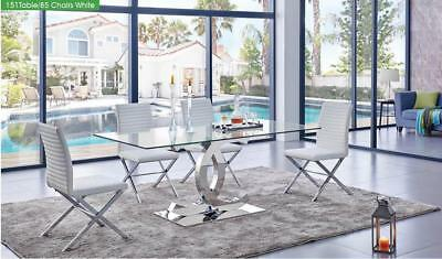 ESF 151 Modern Dining Table With Clear Glass Top 85 White Leather Chair Set 5 Pc
