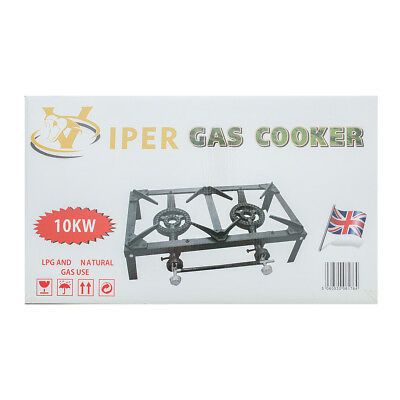 Viper Gas Boiling Ring Catering Lpg Burner Outdoor Double Kitchen Cooker 10kw