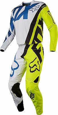 Fox Racing Mens White/Hi-Vis Yellow/Black/Blue 360 Creo Dirt Bike Jersey & Pants