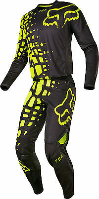 Fox Racing Mens Black/Hi-Vis Yellow 360 Grav Dirt Bike Jersey & Pants Kit Combo