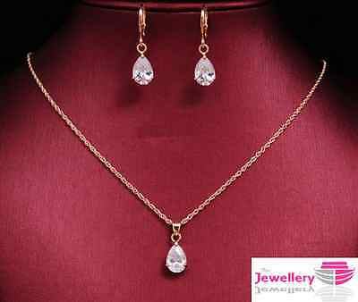 Rose Gold Plated Peardrop Crystal Pendant Necklace and Earring Womens Set