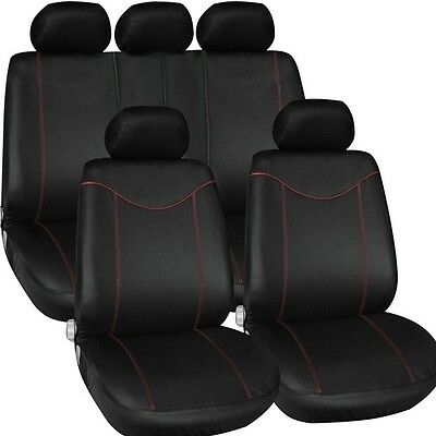 T21638 9Pieces Full Seat Cover Set Front Rear Universal Fit Black Red