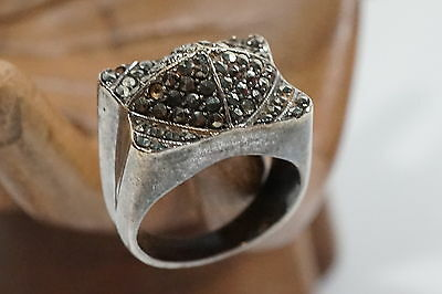 D580 Superb Mid Century Art Deco Cocktail sterling Marcacites Ring Size 5 1/4