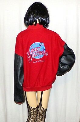 Planet Hollywood Las Vegas Letterman Style Leather and Wool Jacket L warm coat
