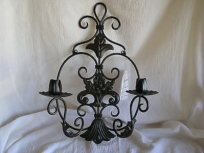 NEW Large Ornate Wrought Iron Wall Sconce Mounted 2 Candle Holder Decor 18""