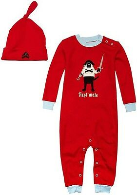 *NEW* Hatley Coverall and Hat Pirate Dogs Baby Boy's Pyjamas Red 18-24M