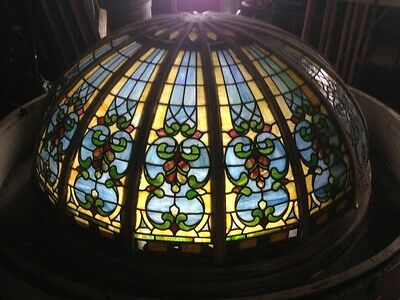 Large Stained Glass Architectural Ceiling Dome Ex City of Keansburg Maritime