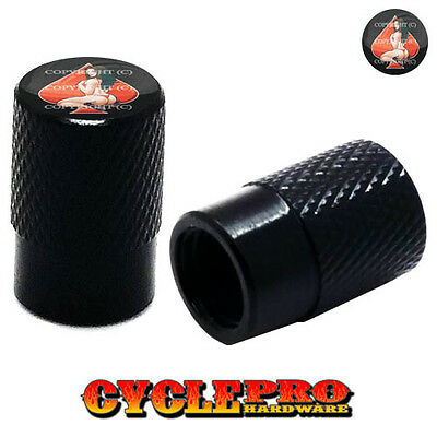 SKELETON FINGER 061 2 Black Billet Aluminum Knurled Tire Air Valve Stem Caps