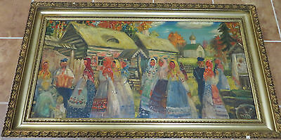 Early 20th Century Signed Russian Oil on Canvas of a Traditional Village Scene