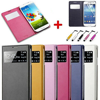 Smart Stay S-View Window Flip PU Leather Case Cover for Samsung Galaxy S4 i9500