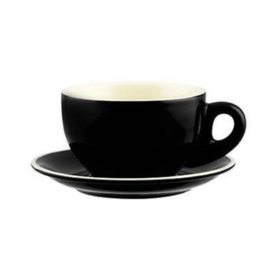 36x Large Cappuccino Cup & Saucer, Black, 330mL, Rockingham, Cafe / Restaurant