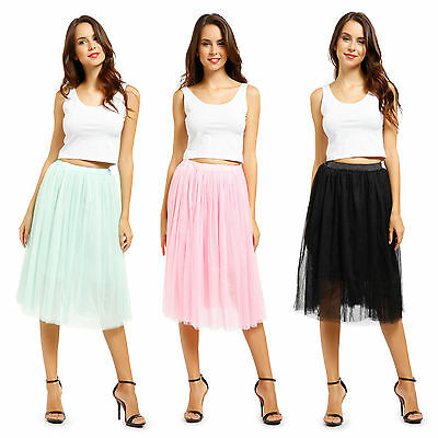 Womens 5 Layer Tulle Tutu Skirt Ballet Wedding Prom Swing Rockabilly Pettiskirt