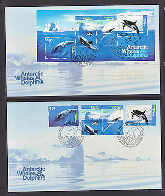 AAT 1995 WHALES AND DOLPHINS SET AND SHEETLET  X 2 FDCs