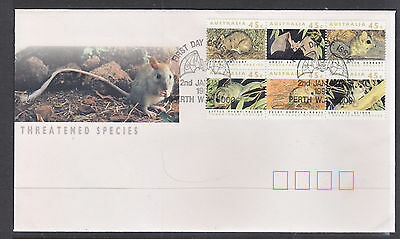 1992 Threatened Species Block Of 6 On Fdc, With The Bat Cancel.