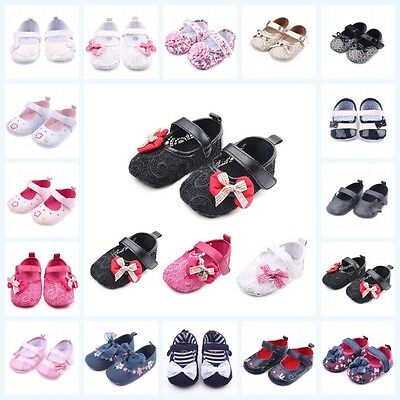 Baby Girls Kid Bowknot Shoes PU Leather Floral Crib Shoes Soft Infant Shoes 0-1T