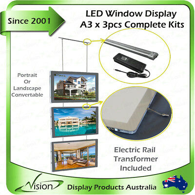 A3 LED Illuminate Window Display Kits Double Sided Panel Real Estate Agent