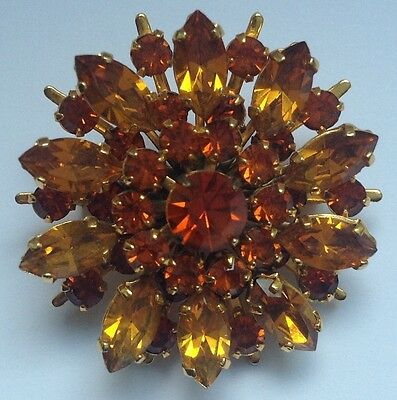 LOVELY 1950/60's VINTAGE BROOCH WITH AMBER COLOURED GLASS STONES free UK post!