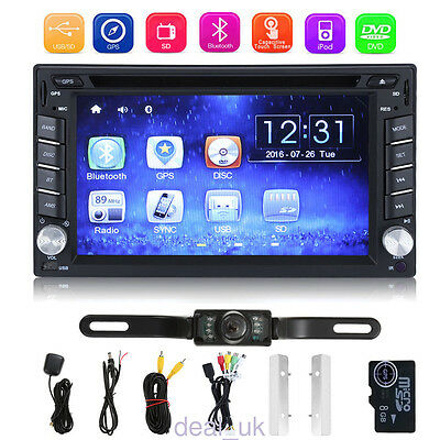 "2 DIN 6.2"" GPS Navigation In Dash Car Stereo DVD Player Bluetooth + Rear Camera"