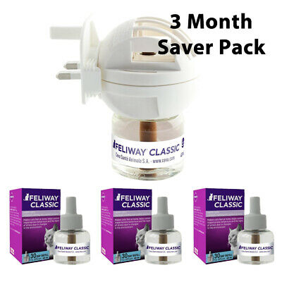 Feliway 3 Month Pack - 1 Diffuser And 3 x Refills - For Stress Reduction In Cats