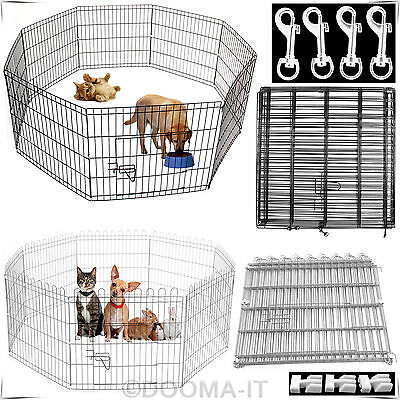 Large & Extra Large 8 Panel Pet Play Pen Dog Puppy Animal Rabbit Cage Run Garden