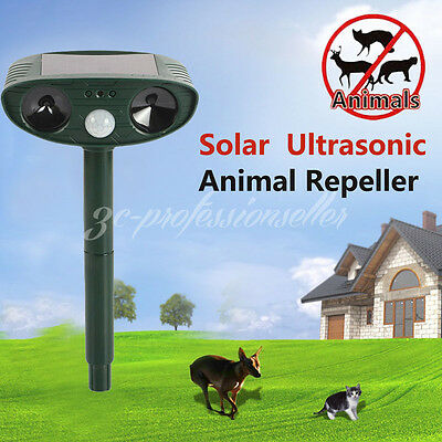 Solar Powered Ultrasonic Pest Repeller Cat Dog Fox Mice Animal Deterrent Control