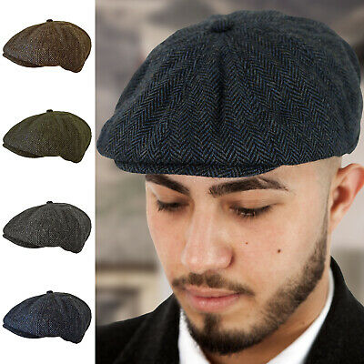Unisex Mens Ladies 8 Panel Wool Blend Herringbone Baker Boy Newsboy Flat Cap Hat