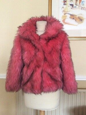 Great Next Girls Pink And Black Faux Fur Jacket Age 9-10 Yrs Worn 2-3 Times