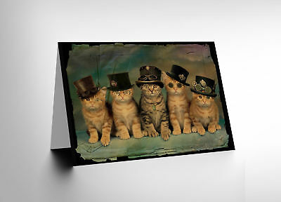Card Greeting Df Five Cute Steampunk Kittens Cats Hats Gift Cl1693